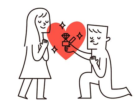 Vector illustration - L'homme fait la proposition de mariage à la petite amie de mariage proposée ..