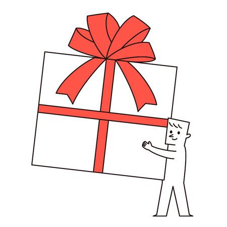 Vector illustraton - man & Gift