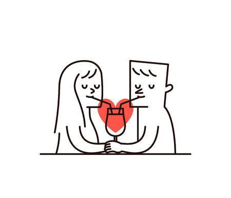femme dessin: Illustration vectorielle - Couple partage un verre de jus avec une forme de coeur