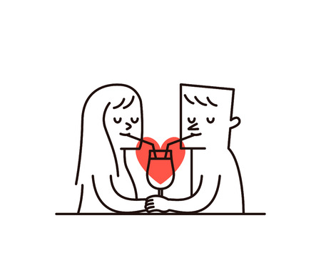 woman eye: Vector illustration - Couple are sharing a glass of juice with heart shape