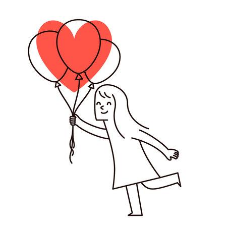 balloon woman: Vector illustration - cartoon woman holding up celebration balloon