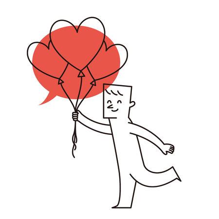 Vector illustration - cartoon man holding up celebration balloon
