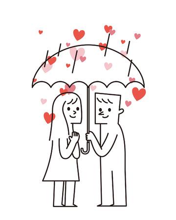 Vector illustration - Couple and umbrella