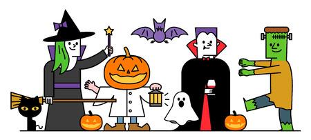 treats: Vector illustration - set of halloween costume character