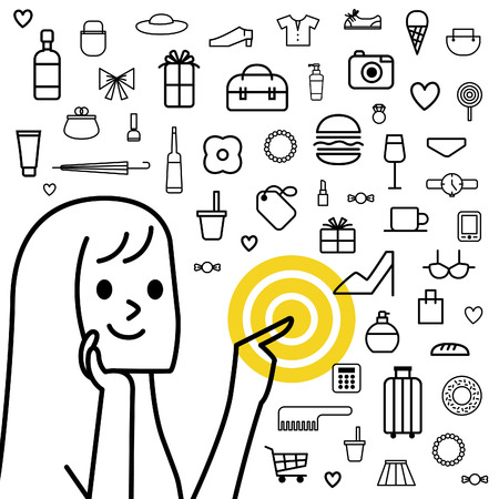 young girl: Young girl with shopping, vector Illustration