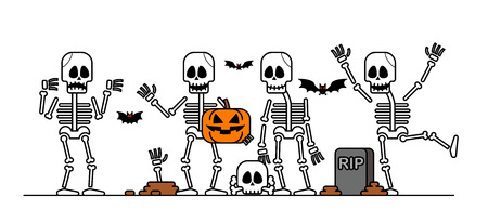 Set of Halloween skeleton character.