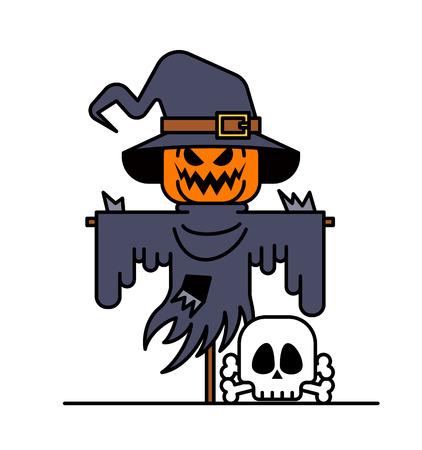scarecrow: Scarecrow at Halloween Scarecrow and pumpkin.