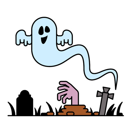 character cartoon: Cartoon spooky Ghost character Illustration