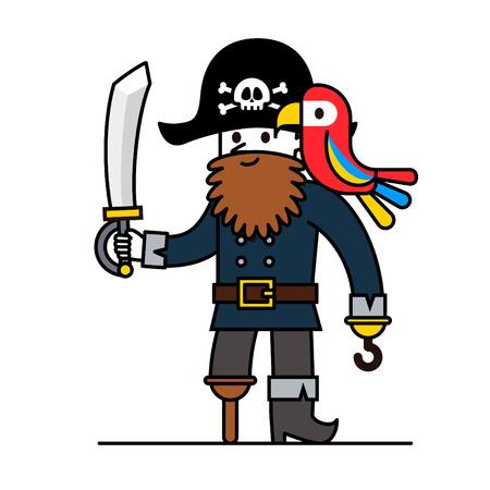 calavera caricatura: pirata de dibujos animados con el loro