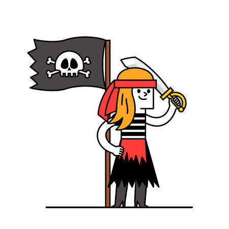 pirate girl: Cartoon pirate girl Character