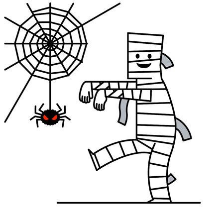 mummified: Cartoon character Mummy with spider Illustration
