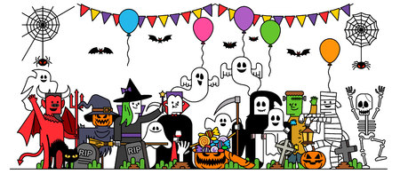 illustration - Halloween party characters