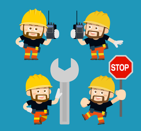 interphone: Vector illustration - cartoon worker set Illustration