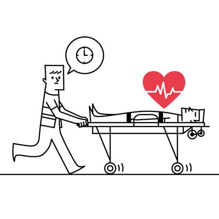 paciente en camilla: Hombre que empuja el icono camillas. ilustración vectorial