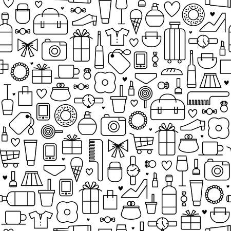 seamless vector background with shopping icons