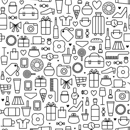 Sfondo vettoriale senza soluzione di continuità con le icone dello shopping Archivio Fotografico - 63752230