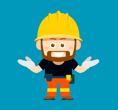 handsign: Vector illustration - cartoon character of worker, builder
