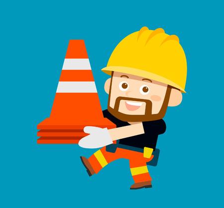 illustration - cartoon character of worker, builder Illustration