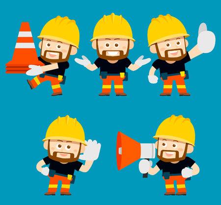 Vector illustration - cartoon character of worker, builder