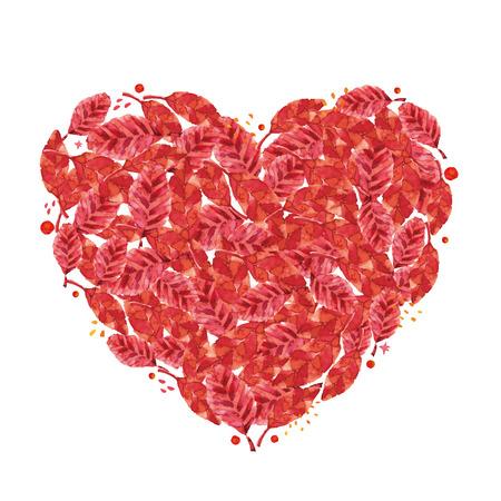 Heart symbol in red leaves. Illustration