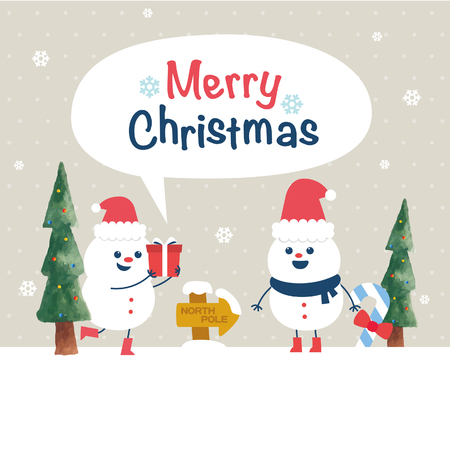snowman vector: Winter with Smiling Snowman. Vector illustration background Illustration