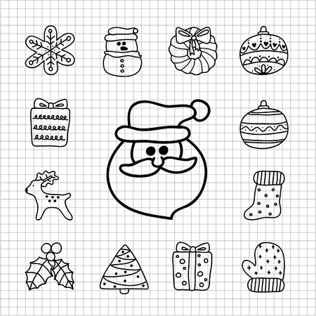 christmas icon: illustration - doodle hand drawn christmas icon set Illustration