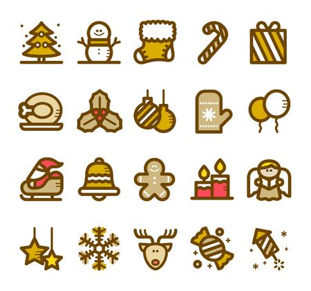 illustrazione - Linea icona di Natale insieme