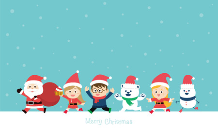 snowfalls: Cute holiday background with boys and girls. Merry Christmas card