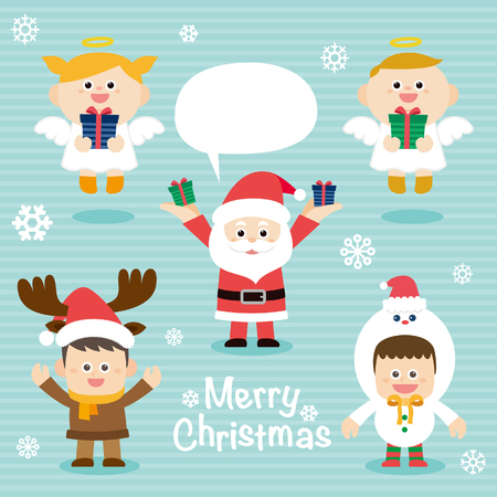 detail invitation: Illustration of cute kids wearing Christmas Illustration