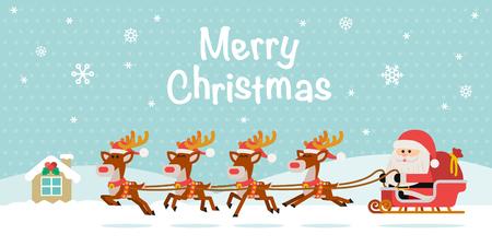 Vector illustration - Santa Claus with Reindeer Sleigh