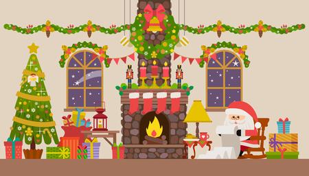 Vector Illustration Weihnachten Wohnzimmer mit Schaukelstuhl, Kamin, Uhr und Tannenbaum. Vektorgrafik