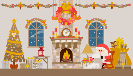 cartoon fireplace: Vector illustration of Christmas living room with rocking chair, fireplace, clock and fir-tree.