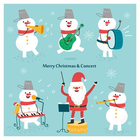 Felice festa di Natale. Babbo Natale e pupazzo di neve. Vettore