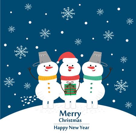Kerst- en nieuwjaarskaart. Vector illustratie