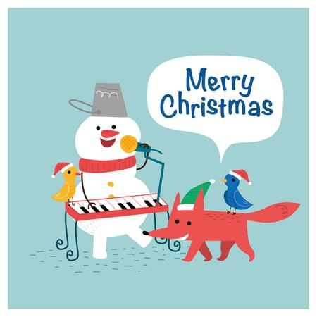 Vrolijke kerstman sneeuwpop en vos. Vector illustratie