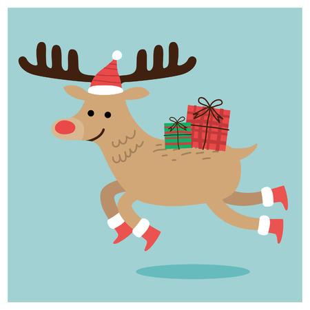 vrolijk kerst rendier. vectorillustratie