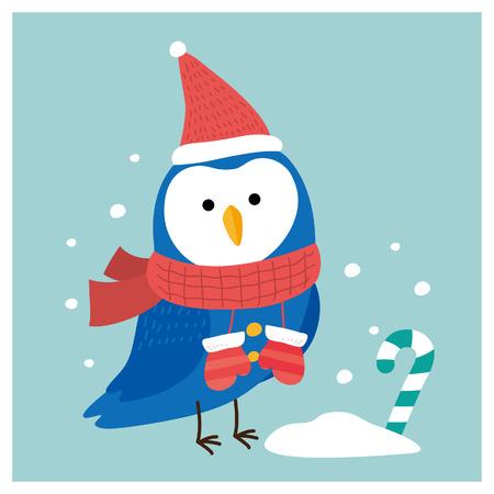 vrolijke kerstuil. vectorillustratie