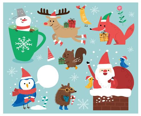 Kerst set. Illustraties
