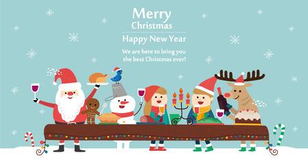 vrolijke kerstkaart vector illustratie Stock Illustratie