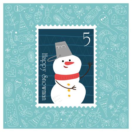 Kerstmis mooie vrolijke leuke postzegel met sneeuw pop. Vector illustratie Stock Illustratie