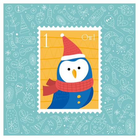 Kerst mooie vrolijke leuke stempel met uil. Vector illustratie Stock Illustratie