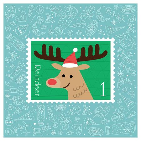Kerst mooie vrolijke leuke stempel met rendieren. Vector illustratie Stock Illustratie