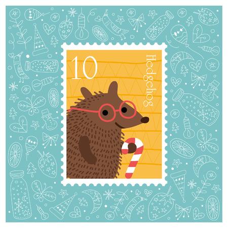 Kerst mooie vrolijke schattige stempel met egel. Vector illustratie