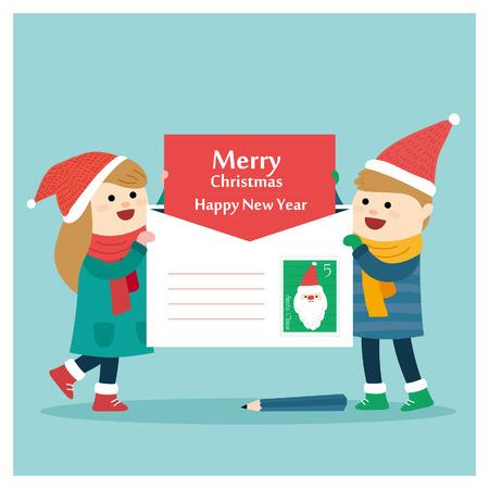 Vrolijke kerstgroet. Vector illustratie