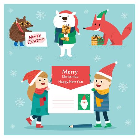 Set van Kerstmis belettering en grafische elementen, vectorillustraties voor wenskaarten