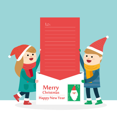 Vrolijk kerstfeest met kleine jongen en meisje. Vector