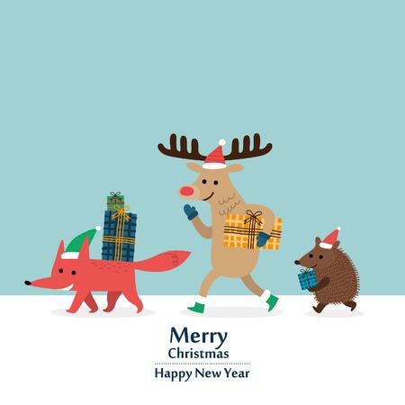 vrolijke kerstkaart. vectorillustratie