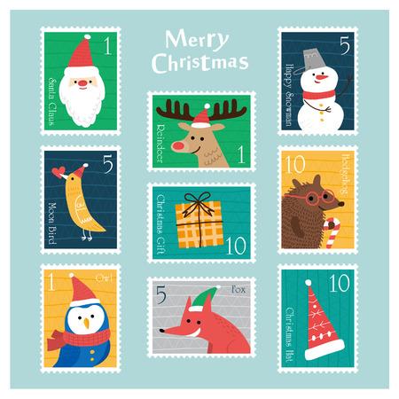 Reeks Kerstmis-postzegels Vector illustratie