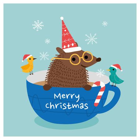 Vrolijk kerstfeest egel. vector illustratie