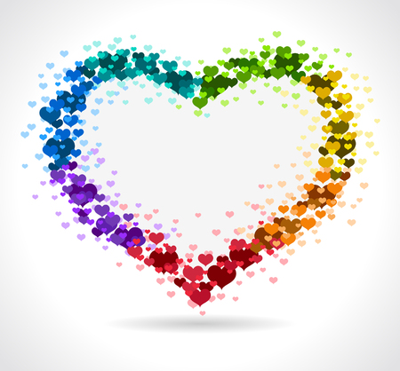 fillings: Love Rainbow heart - Vector illustration